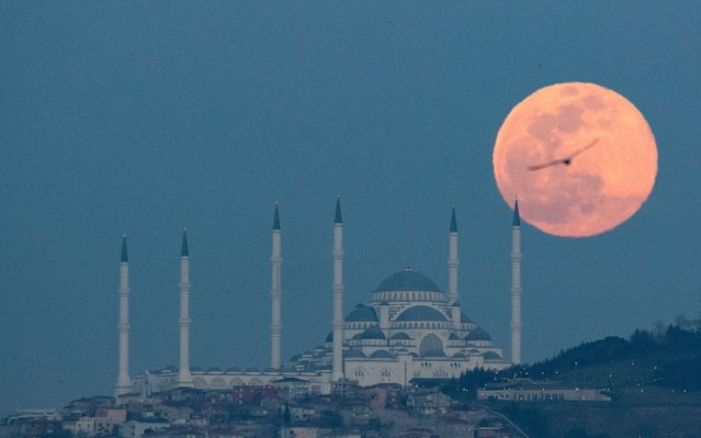 Supermoon shines over Camlica mosque in Istanbul, Turkey on March 9, 2020. (Photo by Erdem Sahin/EPA/EFE/Rex Features/Shutterstock)