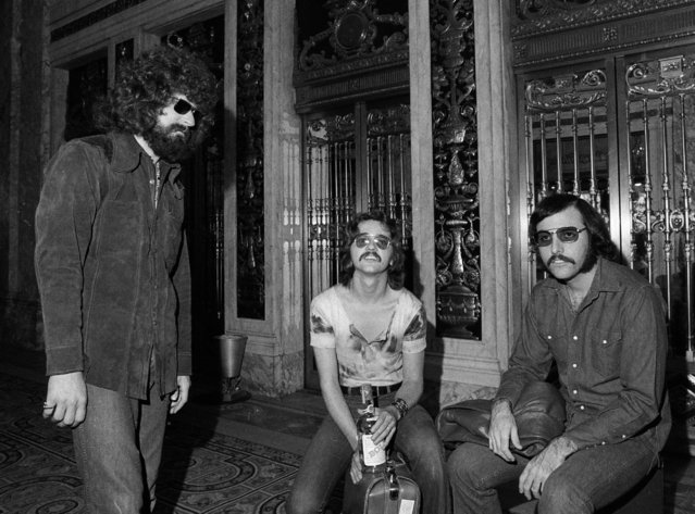 Members of the rock band Steppenwolf are seen, August 25, 1970. Outside the Plaza Hotel in New York, from left to right:  Goldy McJohn, Rushton Moreve and Jerry Edmonton. (Photo by Marty Lederhandler/AP Photo)