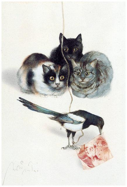 Drei Katzen (Three cats). Artwork by Michael Mathias Prechtl