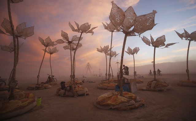 """The art installation Pulse & Bloom is seen during the Burning Man 2014 """"Caravansary"""" arts and music festival in the Black Rock Desert of Nevada, August 29, 2014. Over 65,000 people from all over the world have gathered at the sold out festival to spend a week in the remote desert cut off from much of the outside world to experience art, music and the unique community that develops. (Photo by Jim Urquhart/Reuters)"""