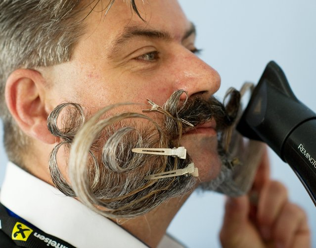 A participant blow dries his moustache at the 2015 World Beard and Moustache Championships in Leogang, Austria, 03 October 2015. More than 350 men from 20 nations are competing in 18 categories. (Photo by Angelika Warmuth/EPA)