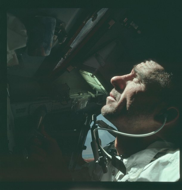 Astronaut Walter Cunningham, Apollo 7 lunar module pilot, is photographed during the Apollo 7 mission in this October 1968 NASA handout photo. (Photo by Reuters/NASA)