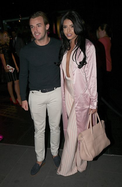 Nathan Massey and Cara De La Hoyde seen arriving for the ByGeorgiaK collection launch for TOWIE star Georgia Kousoulou held at W Hotel in London, United Kingdom on  September 20, 2016. (Photo by FameFlynet UK)