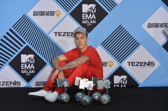Justin Bieber poses in the Winners Room after winning the multiple awards at the MTV EMA's 2015 at the Mediolanum Forum on October 25, 2015 in Milan, Italy. (Photo by Anthony Harvey/Getty Images for MTV)