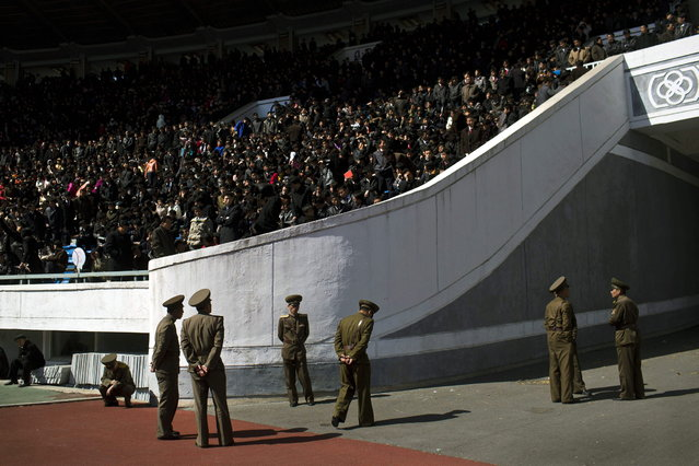 North Korean soldiers stand guard inside Pyongyang's Kim Il Sung Stadium on Sunday, April 14, 2013. North Korea hosted the 26th Mangyongdae Prize Marathon to mark the upcoming April 15, 2013 birthday of the late leader Kim Il Sung. (Photo by David Guttenfelder/AP Photo)