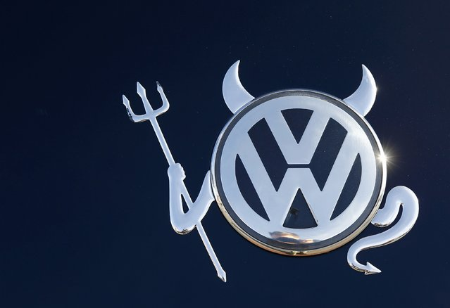 The embellished VW logo is pictured on a Volkswagen car in Hanau, Germany November 12, 2015. (Photo by Kai Pfaffenbach/Reuters)