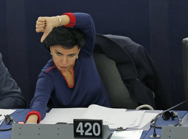 France's Member of the European Parliament Rachida Dati takes part in a voting session on her report about the prevention of radicalisation and recruitment of European citizens by terrorist organisations, at the European Parliament in Strasbourg, France, November 25, 2015. (Photo by Vincent Kessler/Reuters)