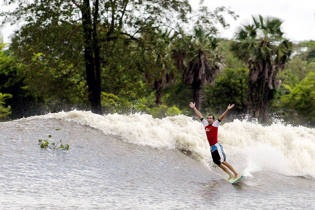 "Brazilian surfer Savio Carneiro celebrates as catches the thunderous ""Pororoca"" tidal bore wave during the national pororoca circuit final on the Mearim River, some 30 km inland, in the Amazon jungle near the northern Brazilian city of Arari, on April 19, 2003. The term ""Pororoca"" comes from the Amazonian indigenous term meaning ""destroyer, great blast"". The feared and thunderous waves have capsized boats and washed away most anything in its path. (Photo by Sergio Moraes/Reuters via The Atlantic)"