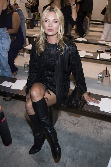 Kate Moss attends the Longchamp show during Fashion Week on Saturday, September 8, 2018 in New York. (Photo by Charles Sykes/Invision/AP Photo)
