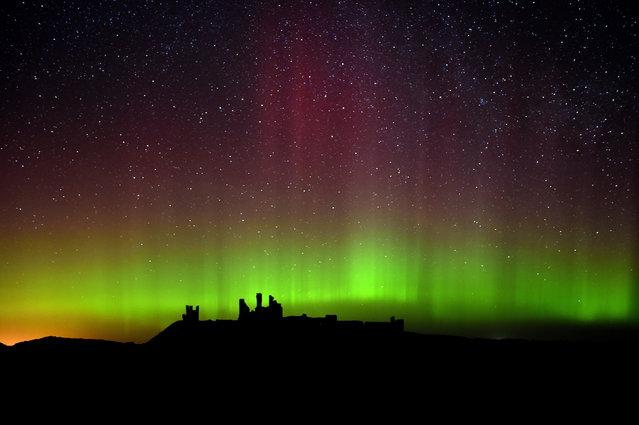 The aurora borealis, or the northern lights as they are commonly known are photographed, over Dunstanburgh Castle, in Northumberland, England, Tuesday February 17, 2015. (Photo by Owen Humphreys/AP Photo/PA Wire)