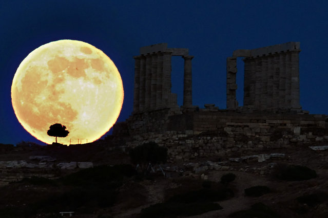 A supermoon rises next to the ancient Greek temple of Poseidon at Cape Sounion, some 65 kilometers south of Athens, on June 23, 2013. (Photo by Aris Messinis/AFP Photo)