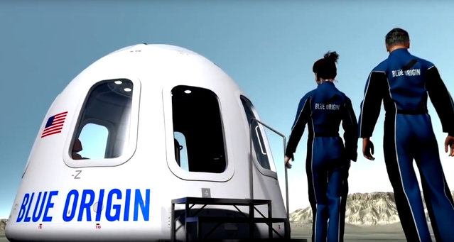 This undated image provided by Blue Origin shows an illustration of the capsule that will be used to take tourist into space. Space tourism companies are employing designs including winged vehicles, vertical rockets with capsules and high-altitude balloons. While developers envision ultimately taking people to orbiting habitats, the moon or beyond, the immediate future involves short flights into or near the lowest reaches of space without going into orbit. (Photo by Blue Origin via AP Photo)