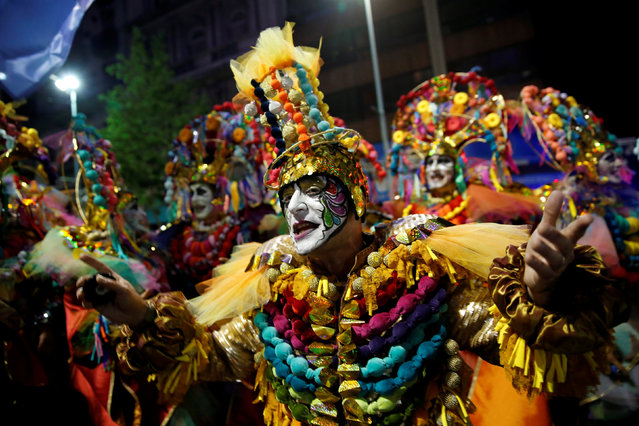 Members of an Uruguayan carnival group participate in the inaugural parade of the Uruguayan Carnival in Montevideo, January 19, 2017. (Photo by Andres Stapff/Reuters)