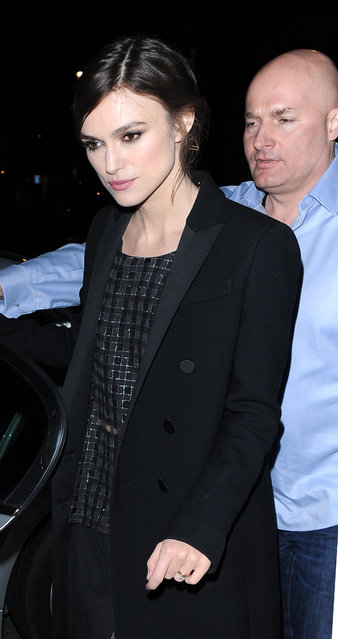 "January 20, 2013: Keira Knightley and James Righton leave the afterparty for ""Jack Ryan: Shadow Recruit"" at Sake no hana, London, UK. (Photo by INFphoto.com)"