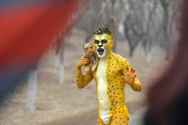 This picture taken on February 23, 2014 shows a participant dressed up as a leopard posing for a photo in the annual 3.5 km Undie Run held in the Olympic Forest Park smog-covered Beijing. (Photo by AFP Photo/STR)