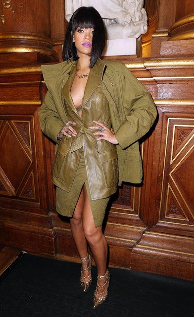 Rihanna at the Balmain fashion show in Paris, France on February 27th 2014. (Photo by KCS Presse/Splash News)