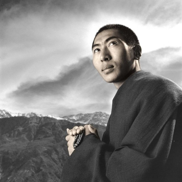 """Lelung Rinpoche is the reincarnation of a long line of high Tibetan lamas. Last year he was asked by the Dalai Lama to go to Tibet and rescue the written works of his previous incarnation the last Lelung Rinpoche. Although the monastery had been completely destroyed he was able to locate the writings and get them safely out of Tibet"". (Phil Borges)"