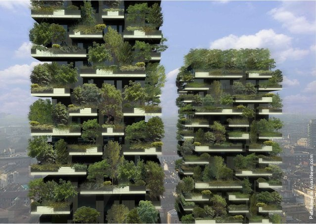 World's first forest in the sky, the Bosco Verticale green twin towers