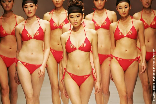 Model walks the runway in Hosa swimwear at the China Fashion Week 2008/2009 Collection Autumn/Winter