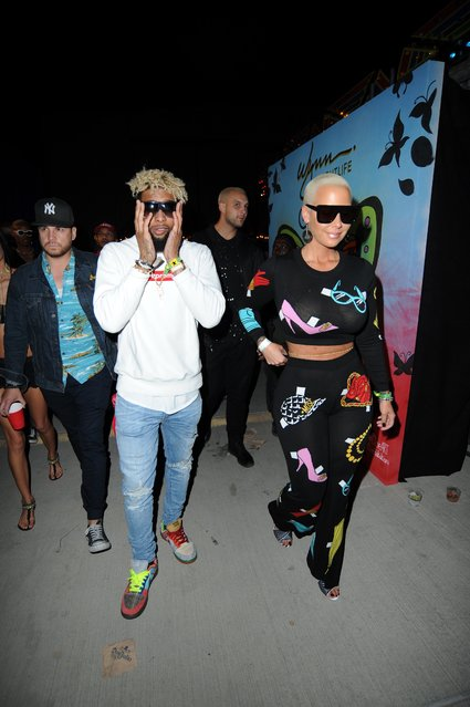Amber Rose and Odell Beckham Jr. seen at the Neon Carnival during the Coachella Valley Music & Arts Festival on April 16, 2017 in Indio, California. (Photo by Picture Perfect/Splash News and Pictures)