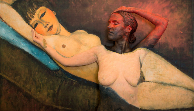 Titled 18,000,000 after the price paid for the Reclining Nude With Blue Cushion by Amedeo Modigliani. (Photo by Trina Merry/Caters News)