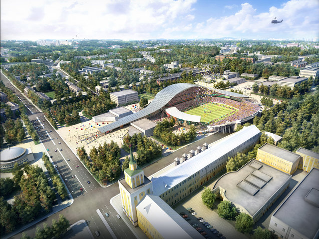 In this handout artists impression provided by the Russia 2018 Organising Commitee, the Yaroslavl Stadium is shown as proposed and presented as part of the Russia 2018 World Cup bid, on September 29, 2011 in Russia. (Illustration by Russia 2018 via Getty Images)