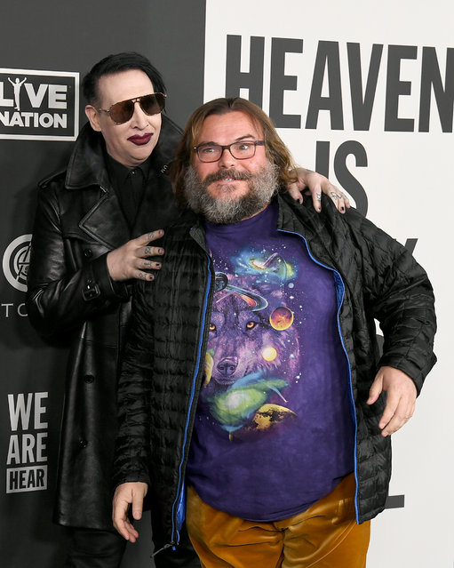 (L-R) Marilyn Manson and Jack Black attend The Art Of Elysium's 13th Annual Celebration - Heaven at Hollywood Palladium on January 04, 2020 in Los Angeles, California. (Photo by Kevin Winter/Getty Images)