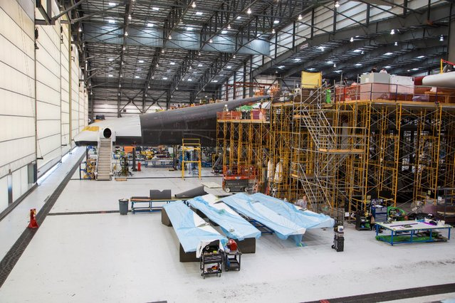 Vulcan Aerospace's Stratolaunch rockets' left fuselage assembly is shown under construction by  Northrop Grumann Scaled Composites at the Mojave Air and Space Port in Mojave, California, U.S. in this handout photo released to Reuters June 19, 2016. (Photo by Reuters/Vulcan Industries)