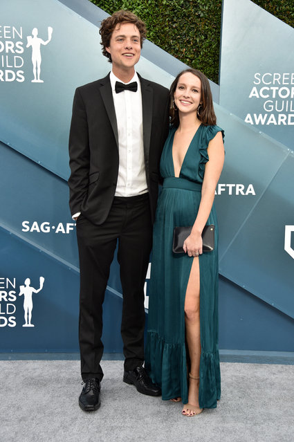 (L-R) Douglas Smith and Tricia Travis attend the 26th Annual Screen ActorsGuild Awards at The Shrine Auditorium on January 19, 2020 in Los Angeles, California. (Photo by Gregg DeGuire/Getty Images for Turner)