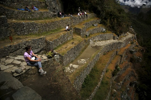 A tourist rests while sitting on terraces at the Inca citadel of Machu Picchu in Cusco, Peru, August 12, 2015. (Photo by Pilar Olivares/Reuters)