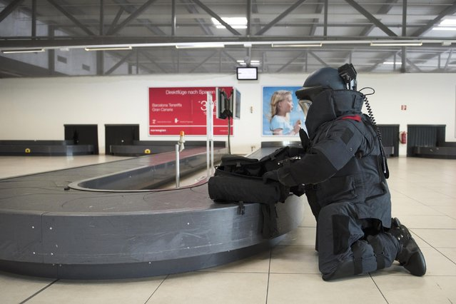 A German federal police officer practices a bomb defusion during a security drill at Schoenefeld airport near Berlin, Germany August 12, 2015. (Photo by Stefanie Loos/Reuters)