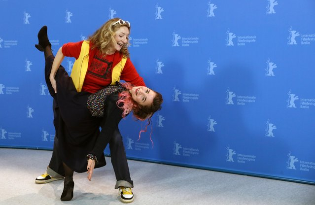 """Actors Corinne Masiero and Blanche Gardin react as they attend a photo call to promote the movie """"Delete History"""" during the 70th Berlinale International Film Festival in Berlin, Germany, February 24, 2020. (Photo by Christian Mang/Reuters)"""