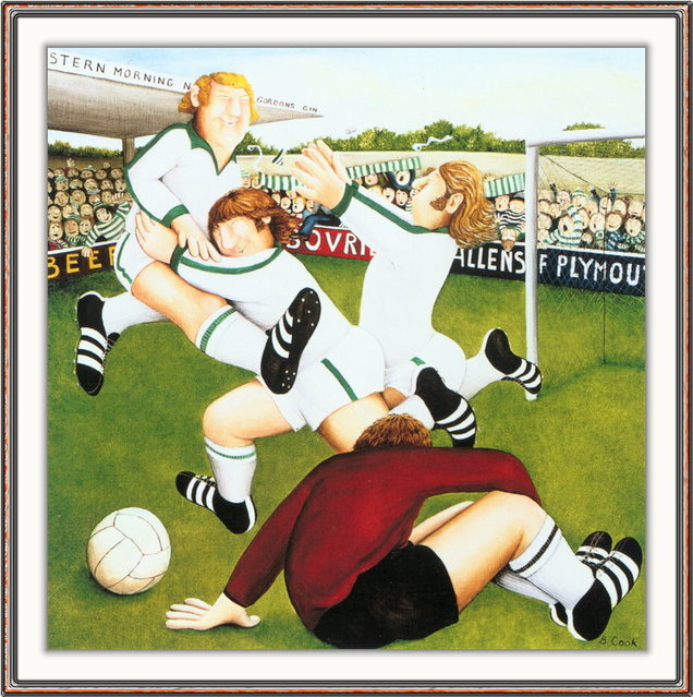 Footballers. Artwork by Beryl Cook