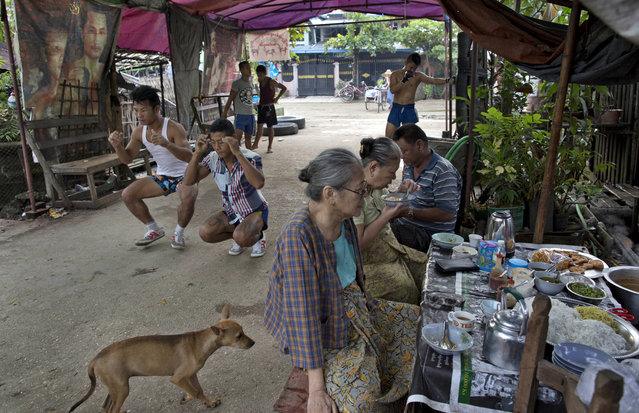 In this Wednesday, July 15, 2015, photo, members of the White New Blood lethwei fighters club, a Myanmar traditional martial-arts club which practices a rough form of kickboxing, warm up in their gym on a street as customers eat a meal at a roadside noodles shop in Oakalarpa, north of Yangon, Myanmar. (Photo by Gemunu Amarasinghe/AP Photo)
