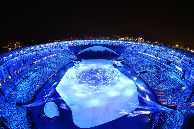 """A general view during the Pindorama """"Birth of Life"""" segment of the Opening Ceremony of the Rio 2016 Olympic Games at Maracana Stadium on August 5, 2016 in Rio de Janeiro, Brazil. (Photo by Richard Heathcote/Getty Images)"""