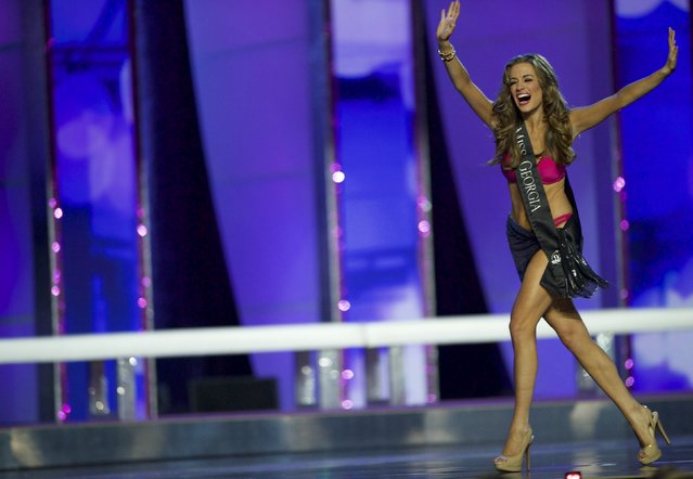 Miss Georgia Betty Cantrell reacts as she advances after the swimsuit competition en route to winning Miss America 2016 at Boardwalk Hall, in Atlantic City, New Jersey, September 13, 2015. (Photo by Mark Makela/Reuters)