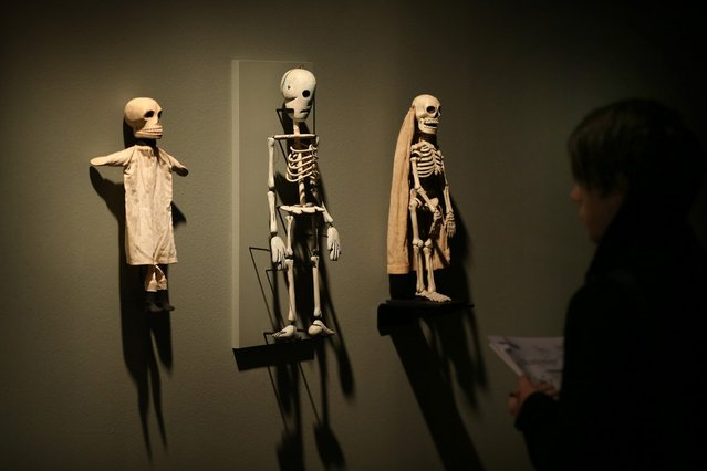Antique American skeleton puppets are shown at the Death: A Self-portrait exhibition at the Wellcome Collection on November 14, 2012 in London, England. The exhibition showcases 300 works from a unique collection by Richard Harris, a former antique print dealer from Chicago, devoted to the iconography of death. The display highlights art works, historical artifacts, anatomical illustrations and ephemera from around the world and opens on November 15, 2012 until February 24, 2013.  (Photo by Peter Macdiarmid)