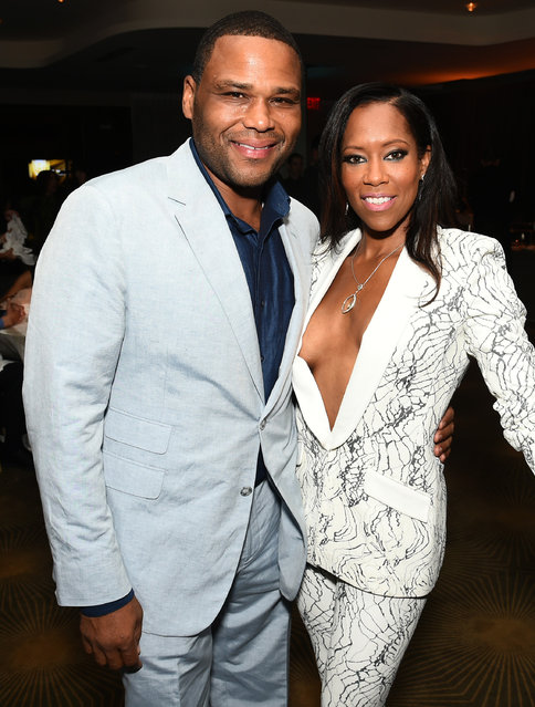 Anthony Anderson, left, and Regina King attend the Television Academy's 67th Emmy Awards Performers Nominee Reception at the Pacific Design Center on Saturday, September 19, 2015, in West Hollywood, Calif. (Photo by Charles Sykes/Invision for the Television Academy/AP Images)