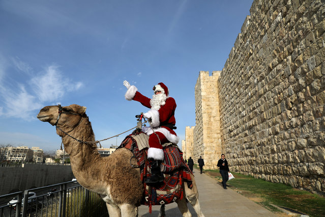 Israeli-Arab Issa Kassissieh rides a camel wearing a Santa Claus costume during the annual Christmas tree distribution by the Jerusalem municipality in Jerusalem's Old City December 21, 2017. (Photo by Ammar Awad/Reuters)