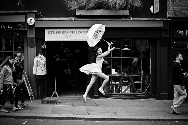 """Jumpology"". ""Can't stop,must fly"". Model: Beth Teo. Portobello Rd in London. (Photo by Andy Teo)"
