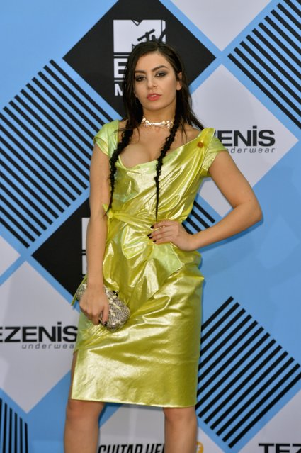 Charli XCX poses in the Winners Room after presenting at the MTV EMA's 2015 at the Mediolanum Forum on October 25, 2015 in Milan, Italy. (Photo by Anthony Harvey/Getty Images for MTV)