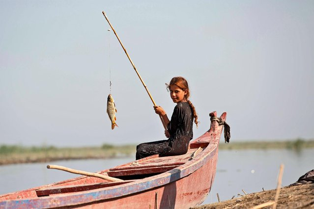 A girl catches a fish in the marshes of the southern district of Chibayish in Dhi Qar province, about 120 kilometres northwest of the southern city of Basra, on September 23, 2020. Iraq's southern marshes are blossoming thanks to a wave of ecotourists picnicking and paddling down their replenished river bends. (Photo by Hussein Faleh/AFP Photo)