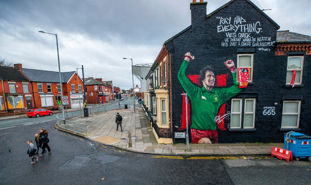 A mural of the Liverpool and England goalkeeper Ray Clemence adorns the gable end of a house in Anfield on November 16, 2020. Clemence died yesterday at the age of 72. (Photo by Peter Byrne/PA Images via Getty Images)