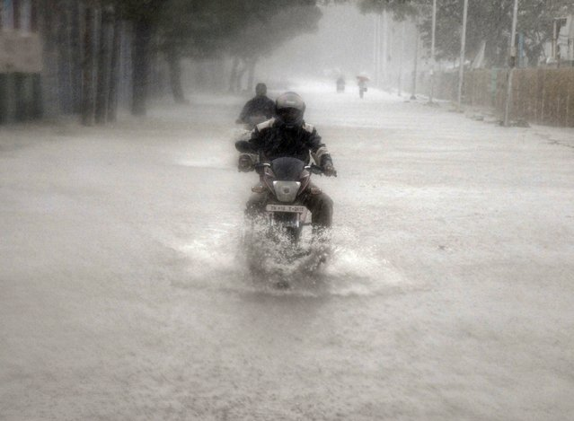 A man rides his motorbike through a flooded road during heavy rain in Chennai, India, November 9, 2015. (Photo by /Reuters)