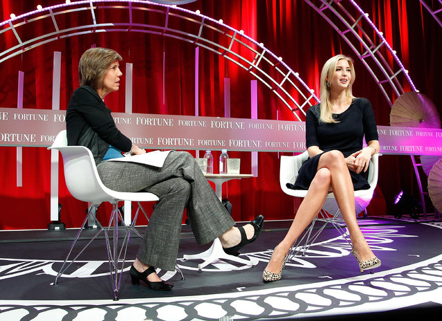 Pattie Sellers (L) of Fortune and Founder and CEO of Ivanka Trump Collection and Executive Vice President of Development and Acquisitions of The Trump Organization Ivanka Trump speak onstage during Fortune's Most Powerful Women Summit – Day 3 at the Mandarin Oriental Hotel on October 14, 2015 in Washington, DC. (Photo by Paul Morigi/Getty Images for Fortune/Time Inc)