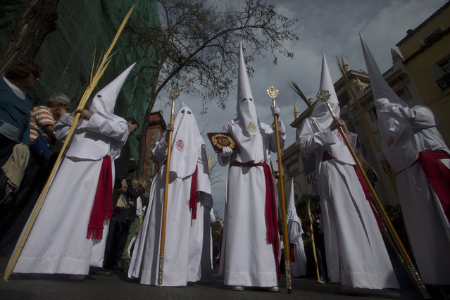 Penitents from the La Borriquita brotherhood walk during a Palm Sunday Holy week procession in Madrid, Spain, Sunday, March 29, 2015. (Photo by Paul White/AP Photo)