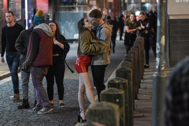 Christmas party goers seen on December 14, 2018 in Liverpool, United Kingdom. Revellers hit the bars as they partied hard on the second-to-last Friday before Christmas. (Photo by Mercury Press)
