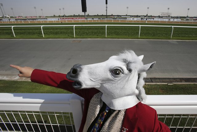 A Japanese fan with a horse mask points the direction of the track as he and another Japanese fan with a mask visit the Dubai World Cup horse racing at the Meydan Racecourse in Dubai, United Arab Emirates, Saturday, March 28, 2015. (Photo by Kamran Jebreili/AP Photo)