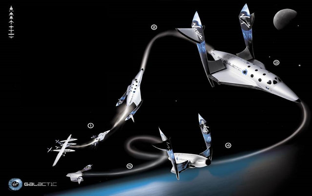 This undated image provided by Virgin Galactic shows Virgin Galactic's first SpaceShipTwo, an air-launched suborbital spaceplane type designed for space tourism. It is manufactured by The Spaceship Company, a California-based company owned by Virgin Galactic.  (Photo by Virgin Galactic via AP Photo)