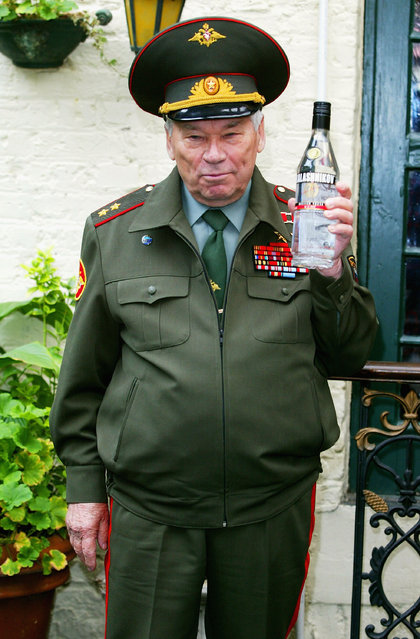 Inventor of the AK-47 assault rifle, General Mikhail Kalashnikov, launches the new brand of Kalashnikov Vodka, on September 20, 2004 in London, England. This vodka – the idea of British entrepreneur John Florey – is distilled in St Petersburg and retails for about USD24 a bottle.  (Photo by Getty Images)